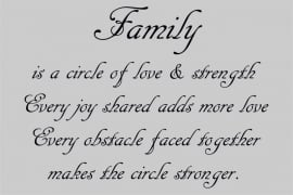 tekstbord:Family is a circle of love.....