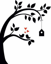 muursticker:boom met vogels + rode hartjes