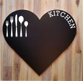 Tekstbord ( Hart vorm ) Kitchen...Krijtbord