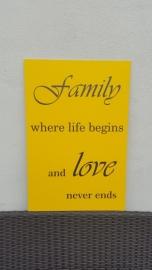tekstbord: Family where life begins