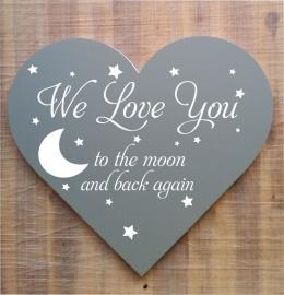 Tekstbord ( Hart vorm ) We Love You....