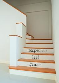 trapsticker: respecteer,leef,geniet