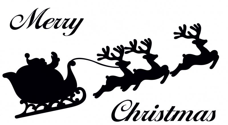 raamsticker: arreslee met tekst merry christmas