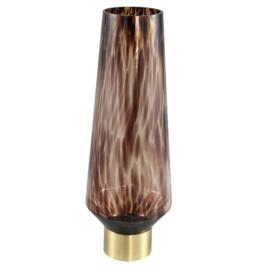 Faya brown panter glas vaas op metalen voet hoog L