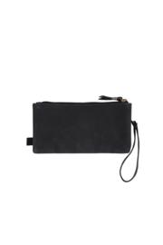 Dubbele portemonnee mat zwart