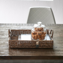 Rustic Rattan Diamond Weave Serving Tray S