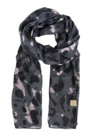 Sjaal met leopard print zwart