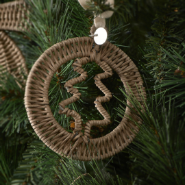 Rustic Rattan Christmas Tree Decoration Hanger
