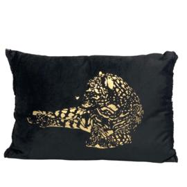 Cushion leopard black/gold w/fringes velvet 50x35