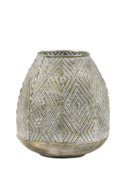 Windlicht Ø16x17,5 cm antiek goud-wit