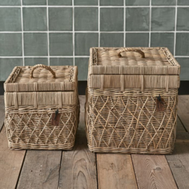 Rustic Rattan Diamond Weave Storage Box Set Of 2 pieces