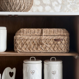 Rustic Rattan Diamond Weave Bread Basket