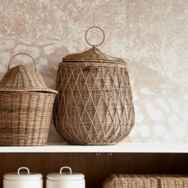 Rustic Rattan Diamond Weave Storage Basket