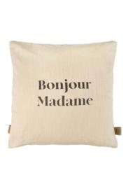 Kussen bonjour madame 45x45cm champagne