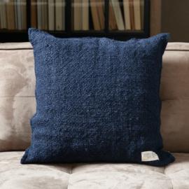 Rough Linen Pillow Cover blue