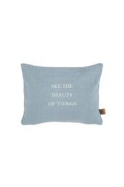 Kussen beauty of things 35x25cm grijs-blauw