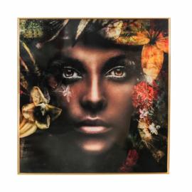 PTMD Melani glass art picture woman nature 120x120cm