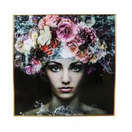 PTMD Melani glass art picture woman flower 120X120cm