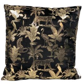 Cushion Jungle/leopard black/gold VI velvet 50x50