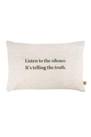 Kussen listen to the silence 60x40cm peper en zout