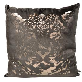 Cushion leopard head taupe 50x50