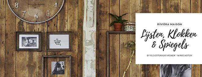 Met prachtige fotolijsten, stijlvolle spiegels, mooie schilderijen en een chique klok maakt u van een wand een statement! In de collectie van Rivièra Maison vindt u een ruim aanbod wanddecoratie in verschillende stijlen, zodat u thuis uw eigen 'wall-art' kan creëren. Kloosterhuis Wonen heeft een divers aanbod fotolijsten en spiegels van Rivièra Maison. Van strak vormgegeven, industrieel tot klassiek landelijk, voor elk wat wils. Laat u inspireren!