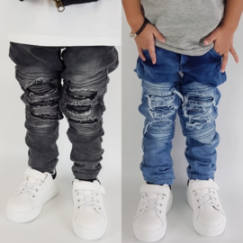 Distressed Blue & Grey biker jeans