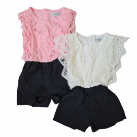 Pink or white black playsuit