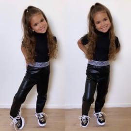 Black & white leather legging