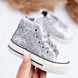 Silver glitter high walker