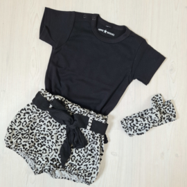 Basic & Grey leopard bloomer set
