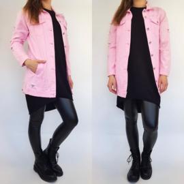 Pink distressed denim jacket