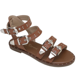Camel buckle sandals