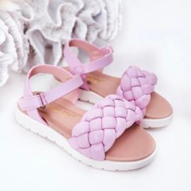 Pink braided sandal