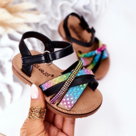 Sparkly black & rainbow sandals