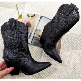 Croco heel boots
