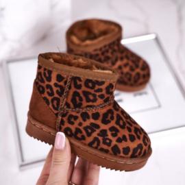 Brown leopard winter boots
