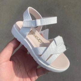 Croco sandals white