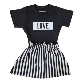 Striped skirt & Love set