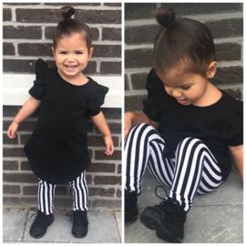 Black ruffle & stripe set