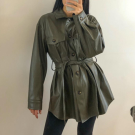 Leather blouse jacket green