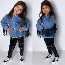 Black fringe & denim jacket
