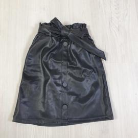 Black belted leather skirt