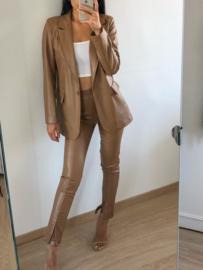Leather split pants camel