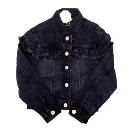 Ruffled black denim jacket