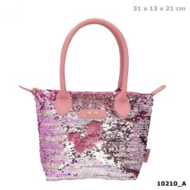 Trend LOVE handtas met wrijfpailletten roze