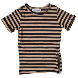 Striped & Zipped long tee - Camel