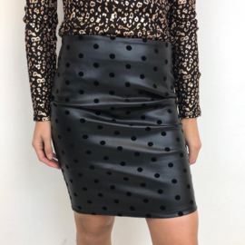 Leatherlook dotted skirt