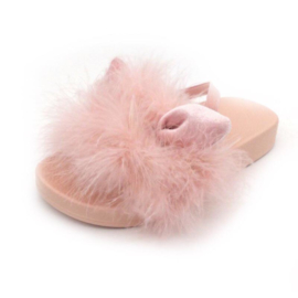 Bunny pink fur slippers