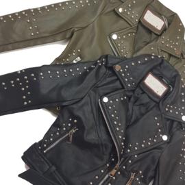 Black or green studded jacket